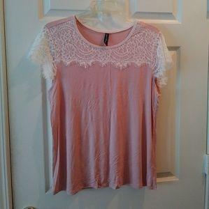 Ambrielle 2-Piece Blush Pink Lace Pajama